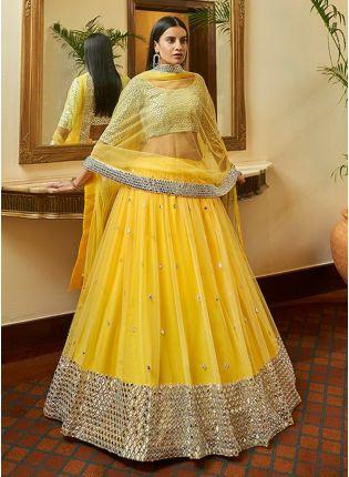 Pineapple Yellow Color Soft Net Base Gota And Mirror Work Base Lehenga Choli