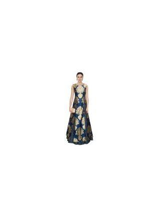 Splendid Navy Blue Designer Printed Gown With Lehenga