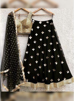 Stylish Black Zari And Sequin Party Wear Flared Lehenga Choli