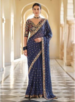 Trendy Prussian Blue Color Organza Base Embroidered Saree
