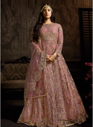 Designer Salwar Suit With A Precious Pink Embroidered Soft Net Base