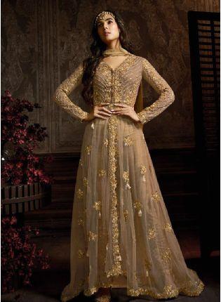 Glamorous Brown Color Salwar Kameez With Embroidered