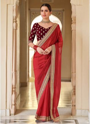 Buy Elegant Red Color With Dori And Sequins Work Base Traditional Saree With Velvet Blouse