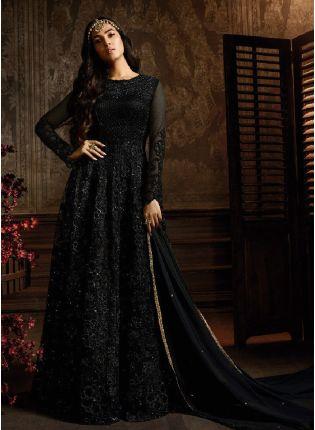 Ravishing Black Color Soft Net Base Floor Length Salwar Suit