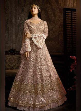 Alluring Peach Color Soft Net Base Embroidered Salwar Suit