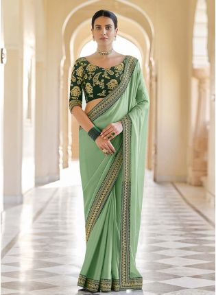 Traditional Green Color Embroidered Saree With Worked Designer Blouse