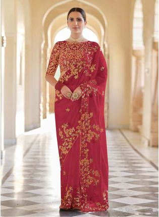 Fabulous Red Color Embroidery Work Organza Base Heavy Look Saree