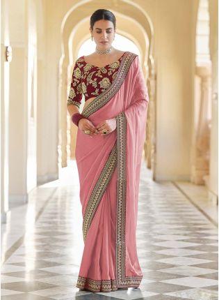 Buy Charming Peach Color Organza Base Heavy Work Designer Look Saree