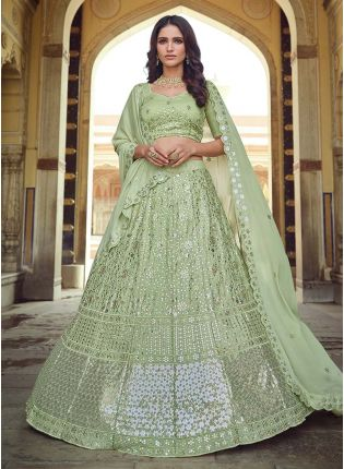 Georgette Fabric Green Color Sequined Work Lehenga Choli With Dupatta