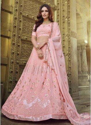 Gorgeous Sequins Work Peach Color Georgette Fabric Flared Lehenga Choli
