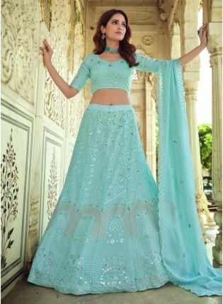 Georgette Fabric Resham And Sequins Work Blue Color Lehenga Choli With Dupatta