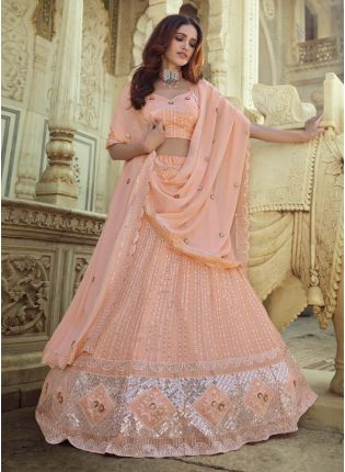 Elegant Georgette Fabric Peach Color Sequins Work Flared Lehenga Choli
