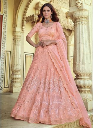 Pink Color Sequins And Resham Work Georgette Base Occasion Wear Lehenga Choli