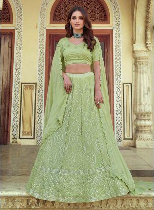 Amazing Green Color Georgette Base Sequins Work Designer Lehenga Choli