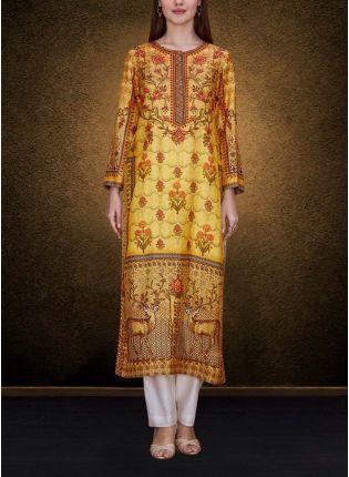 Top Yellow Elegant Printed Detailed Kurta