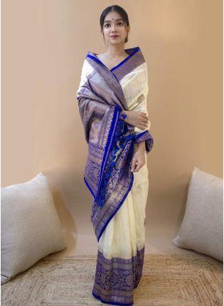 Trendy Cream Banarasi Silk Base Saree