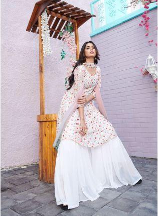 Decent White Color With Embroidered Work Salwar Kameez