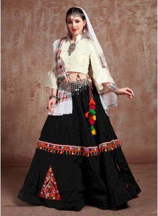 Black And Cream Color Taffeta Silk Base Mirror Work Navratri Special Lehenga Choli