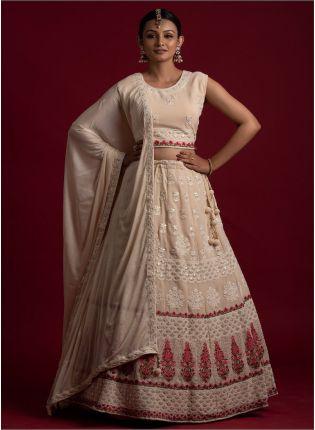 Buy Off-White Color Georgette Base Heavy Work Base Wedding Wear Lehenga Choli
