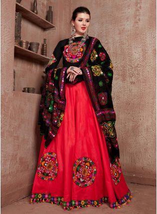 Cotton fabric Red And Black Color Mirror Work Navratri Special Lehenga Choli