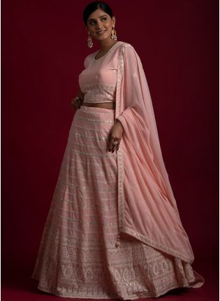Wedding Wear Peach Color Georgette Base Heavy Work Lehenga With Same Color Blouse