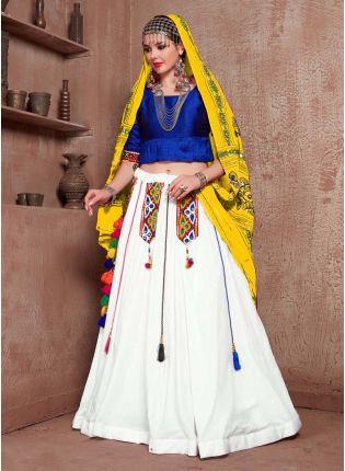 Mirror Work Cotton fabric Blue And White Color Navratri Special Lehenga Choli