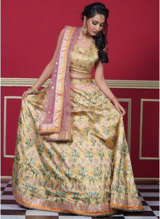 Yellow Color Silk Base With Beautiful Print Base Occasion Wear Lehenga Choli