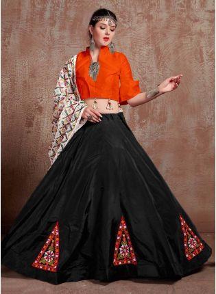 Taffeta Silk Base Orange And Black Color Navratri Special Lehenga Choli