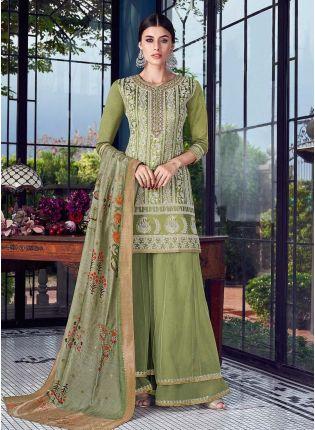 Olive Green Color Silk Fabric Resham And Lucknowi Work Salwar Kameez