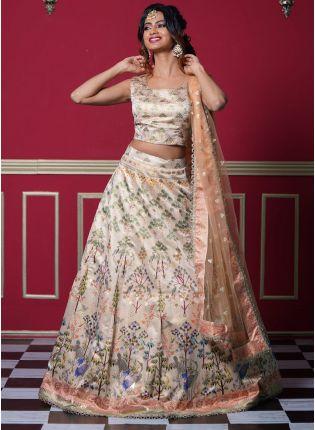 Magnificent White Color Silk With Ethnic Print Base Wedding Wear Lehenga Choli