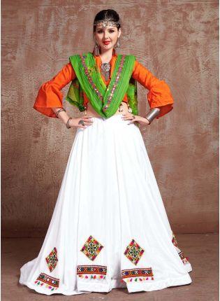 White And Orange Color Cotton Base Navratri Special Mirror Work Lehenga Choli