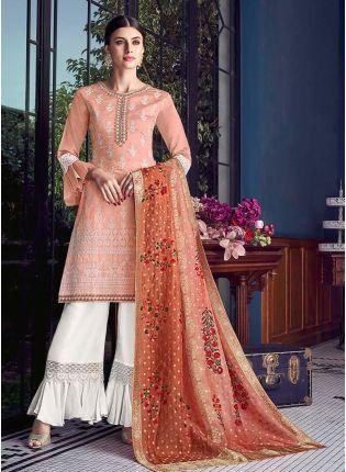 Mesmerizing Peach Color Silk Fabric Lucknowi Work Sharara Salwar Suit