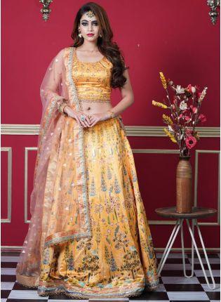 Eye-Captivating Yellow Color Silk Base With Digital Print Base Occasion Wear Lehenga Choli