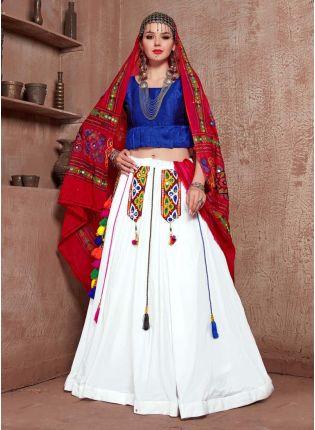 Navratri Special Blue And White Color Cotton Base Lehenga Choli