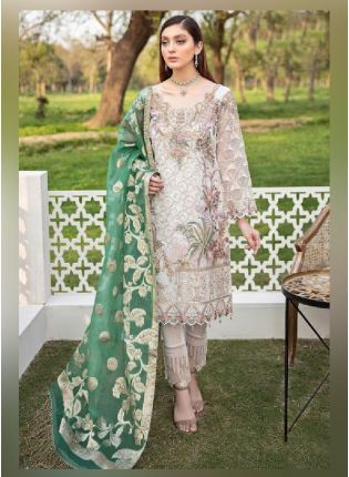 Buy Dainty Cream Color With Georgette Base Pakistani Suit