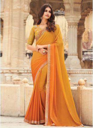 Terrific Yellow And Orange Shaded Color Art Silk Base Wedding Wear Designer Saree