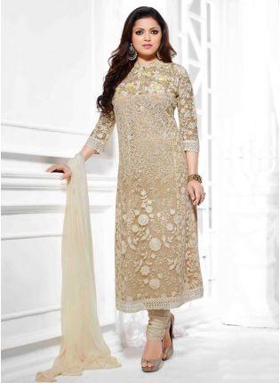 Iconic Party Wear Look Beige Colour Fancy Salwar Kameez