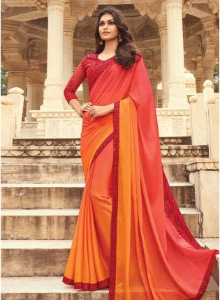 Adorable Red And Yellow Color Base Heavy Saree With Heavy Work Blouse