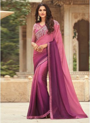Stunning Magenta Pink Shaded Color Saree With Designer Heavy Work Blouse