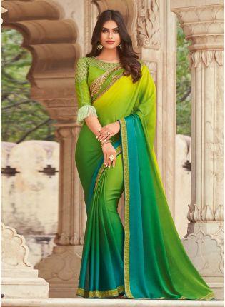 Royal Look Shaded Green Art Silk Base Wedding Wear Saree With Designer Blouse