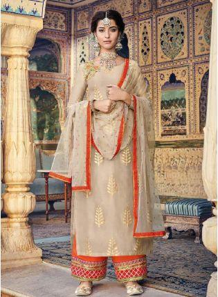 Admirable Beige Color Georgette Base Straight Cut Palazzo Suit