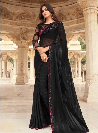 Astonishing Black Color Art Silk Base Sequins Base Saree With Matching Color Blouse