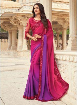 Beautiful Pink And Purple Shaded Color Art Silk Base Designer Saree