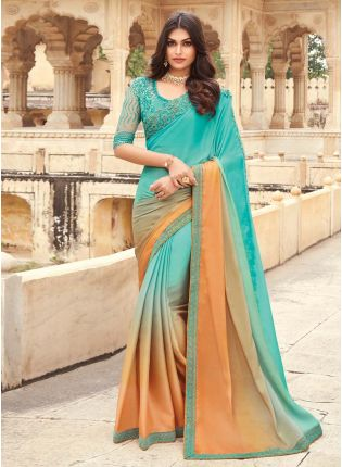 Admirable Sky Blue And Orange Shaded Saree With Heavy Work Designer Blouse