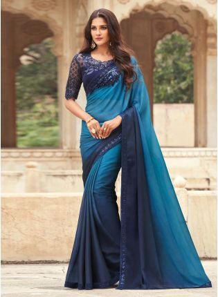 Elegant Blue Shaded Color Designer Saree With Heavy Work Blouse
