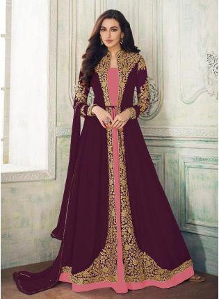 Zari Work Georgette Fabric Wine Color Pakistani Jacket Style Salwar Kameez
