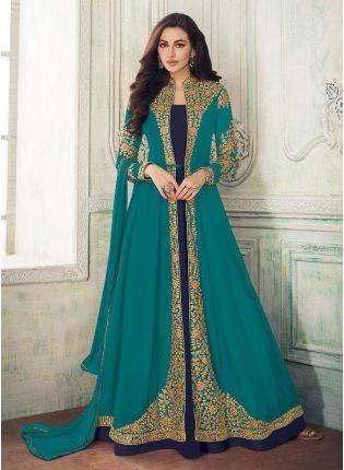 Turquoise Color Georgette Fabric Zari Work Jacket Style Salwar Kameez