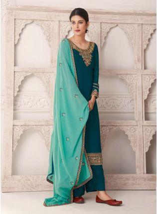 Buy Zari Work Dark Green Color Adorable Look Salwar Kameez