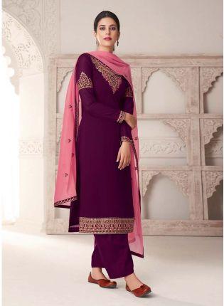 Wine Color Resahm Work Salwar Kameez With Contrast Dupatta