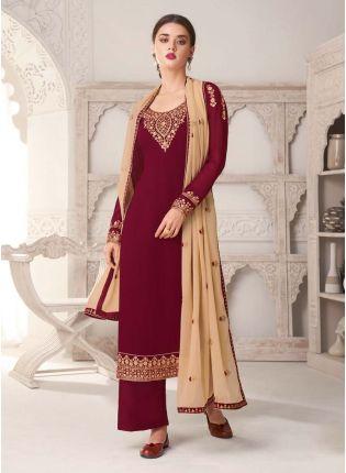Zari Work Maroon Color Aesthetic Look Salwar Kameez With Contrast Dupatta